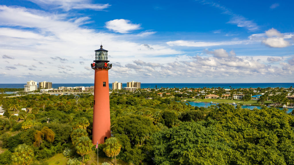 Stunning View of the Jupiter Inlet Lighthouse located In Palm Beach County Florida